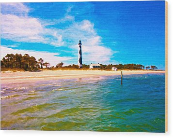 Cape Lookout Shore And Lighthouse Wood Print by Betsy Knapp