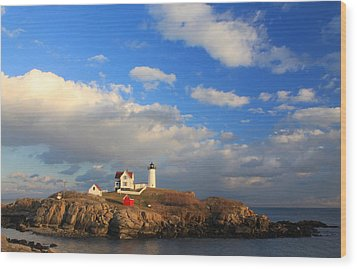 Cape Neddick Nubble Lighthouse Maine Wood Print by John Burk