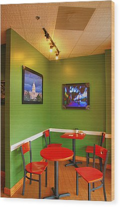 Capitol Hill Cafe Wood Print by Steven Ainsworth