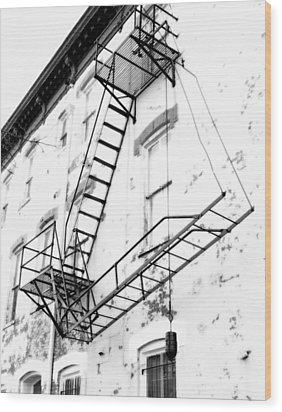 Capitol Hill Fire Escape Wood Print by Steven Ainsworth