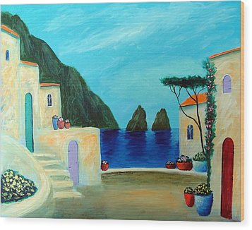 Wood Print featuring the painting Capri Villa by Larry Cirigliano