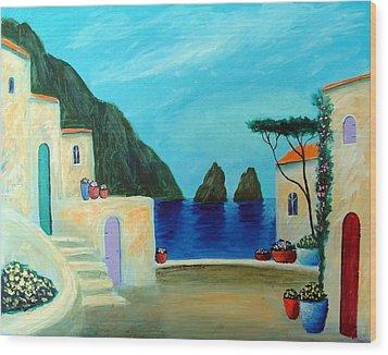 Capri Villa Wood Print by Larry Cirigliano