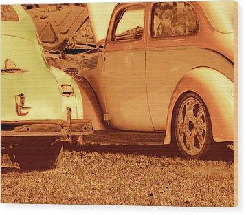 Car Show Wood Print by Ann Powell