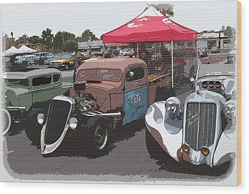 Car Show Hot Rods Wood Print by Steve McKinzie