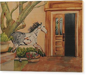 Wood Print featuring the painting Cara-soul by Teresa Beyer