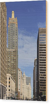 Carbide And Carbon And Wrigley Building - Two Chicago Classics Wood Print by Christine Till