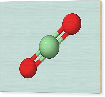 Carbon Dioxide Molecule Wood Print by Dr Tim Evans