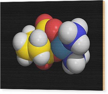Carboplatin Molecule, Cancer Drug Wood Print by Dr Tim Evans