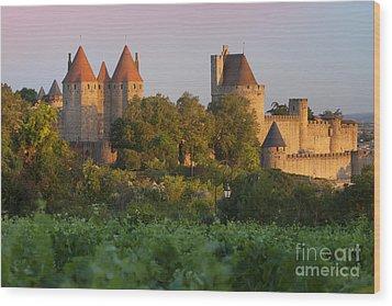 Carcassonne Dawn Wood Print by Brian Jannsen
