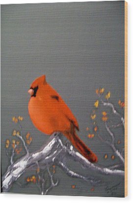 Wood Print featuring the painting Cardinal by Al  Johannessen