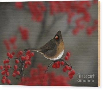Cardinal Among The Berries Wood Print