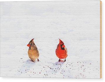 Cardinal Couple II Wood Print by Tamyra Ayles