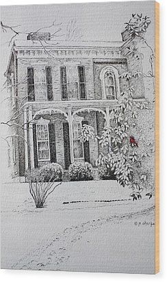 Wood Print featuring the drawing Cardinal by Patsy Sharpe