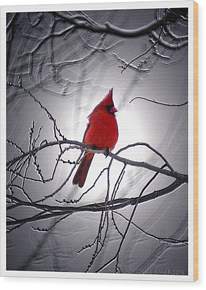 Wood Print featuring the photograph Cardinal by Yvonne Emerson AKA RavenSoul