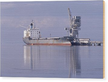 Cargo Tanker Ship Tied Up To A Jetty Wood Print by Jason Edwards