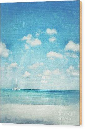 Caribbean Beach Wood Print by Diana Riukas