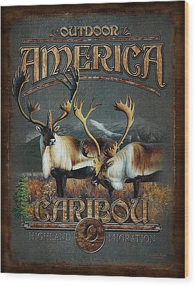 Caribou Wood Print by JQ Licensing