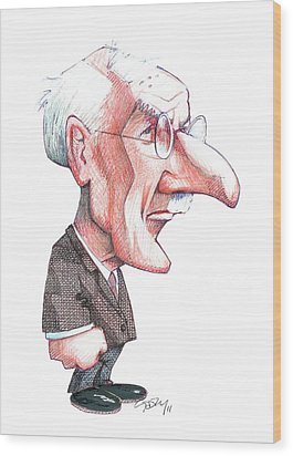 Carl Jung, Caricature Wood Print by Gary Brown