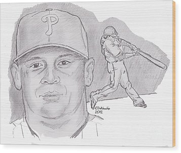 Wood Print featuring the drawing Carlos Ruiz by Chris  DelVecchio