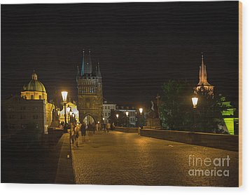 Carls Bridge Prague By Night Wood Print