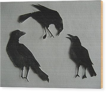 Carl's Crows Wood Print by Betty Pieper