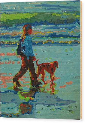 Carmel Beach Sunset Dog Walk Wood Print by Thomas Bertram POOLE