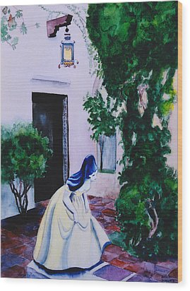 Carmel California Courtyard Wood Print by Eve Riser Roberts