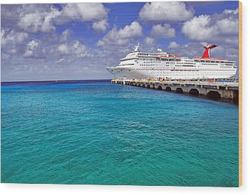 Carnival Elation Docked At Cozumel Wood Print by Jason Politte