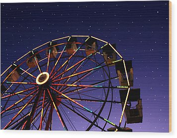 Carnival Ferris Wheel Against Starry Night Sky Wood Print by Heather Cate Photography
