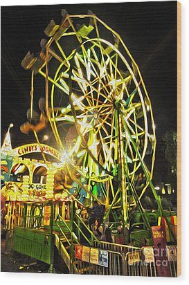 Carnival Ferris Wheel Wood Print by Gregory Dyer