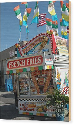 Carnival Festival Fun Fair French Fries Food Stand Wood Print by Kathy Fornal