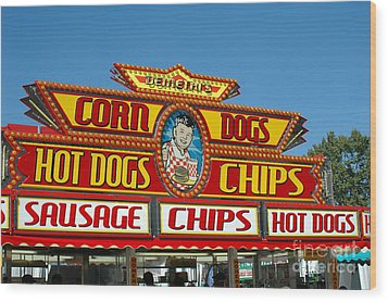 Carnival Festival Fun Fair Hot Dog Stand Wood Print by Kathy Fornal