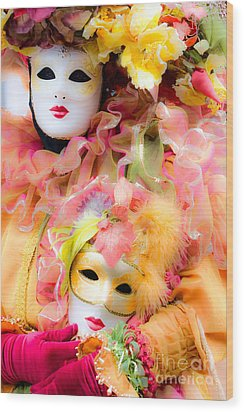 Wood Print featuring the photograph Carnival Mask by Luciano Mortula