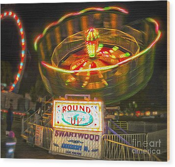 Carnival Ride - The Round Up Wood Print by Gregory Dyer