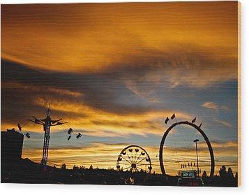 Carnival Sky Wood Print by Mitch Shindelbower