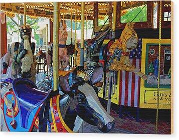 Carousel Fun Wood Print by Bob Whitt