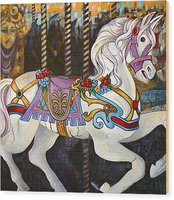 Carousel Horse Hull Massachusetts Wood Print