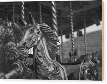 Wood Print featuring the photograph Carousel Horses Mono by Steve Purnell