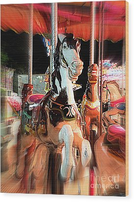 Wood Print featuring the photograph Carousel Horses by Renee Trenholm