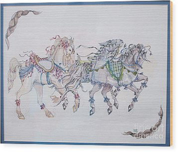 Carousel Parade Wood Print by Becka Noel