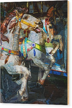 Carousel Thoroughbreds Wood Print