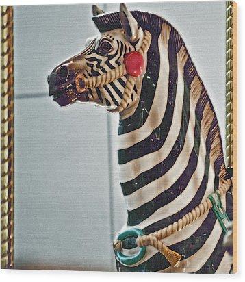 Carousel Zebra Wood Print by Bill Owen