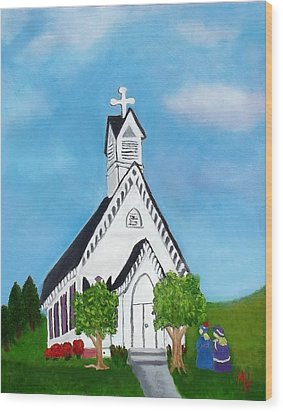 Wood Print featuring the painting Carpenter Gothic Church In Louisiana by Margaret Harmon