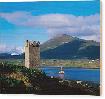 Carrickkildavnet Castle, Achill Island Wood Print by The Irish Image Collection