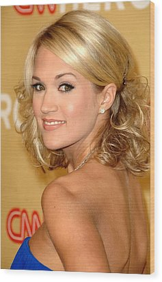 Carrie Underwood In Attendance For Cnn Wood Print by Everett