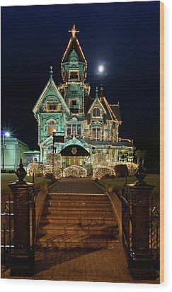 Carson Mansion At Christmas With Moon Wood Print by Greg Nyquist