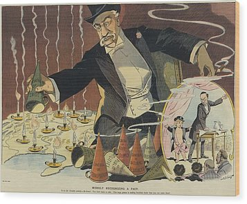 Cartoon Depicting A Giant Businessman Wood Print by Everett
