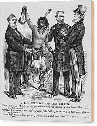 Cartoon: Native Americans, 1876 Wood Print by Granger