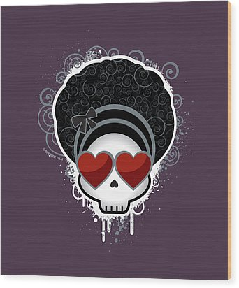 Cartoon Skull With Hearts As Eyes Wood Print by Sherrie Thai