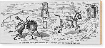 Cartoon: Telephone, 1886 Wood Print by Granger